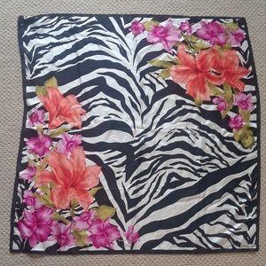 Adrienne Landau Zebra and Floral Silk Scarf